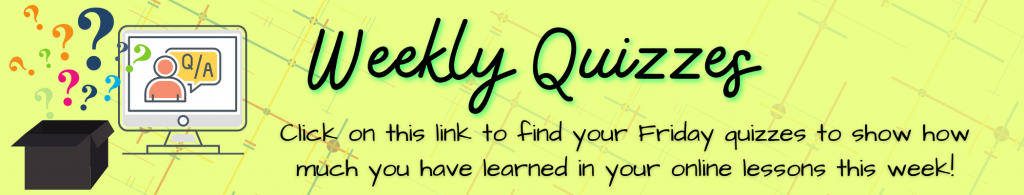 Year group weekly quizzes